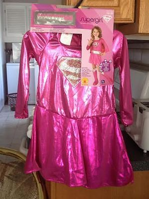 Pink Supergirl Fancy Dress Halloween Costume Complete 4-6 + Stick on Nails NWT](Stick Girl Costume)