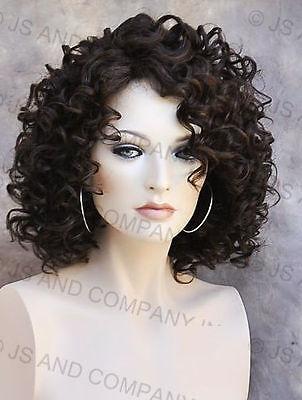 Human Hair Blend Wig Short Corkscrew Curly Dark Brown Heat Safe Mel 4