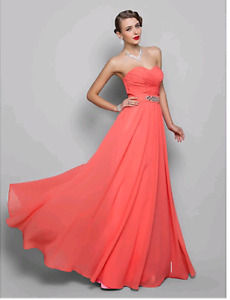 Strapless Sweetheart Floor Length Chiffon Prom Dress