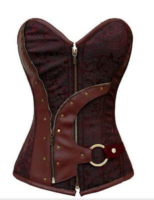 Halloween Brocade Steampunk Embroidery Overbust Corset Top Brown Sz M Cosplay