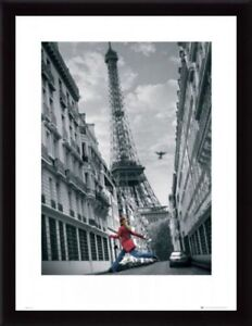 Paris Eiffel Tower girl with red coat painting - Large size