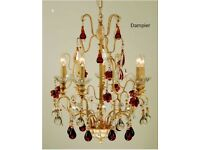 Brand New Dampier Chandelier In Gold with Glass fruit Crystals