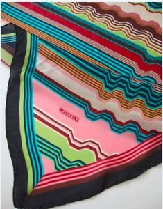 "Authentic MISSONI Zigzag 100% Silk Scarf. 9.5/10 Cond. 33"" x 33"""