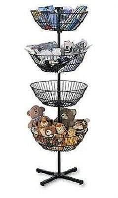 4 Basket Display Wire Floor Tier Spinner Rack Dump Bin Retail Merchandising 63""
