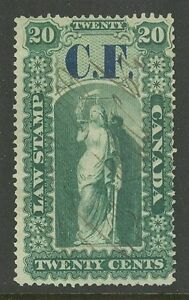 Ontario-OL3-1864-20c-C-F-Consolidated-Fund-Overprint-Law-Revenue-Used