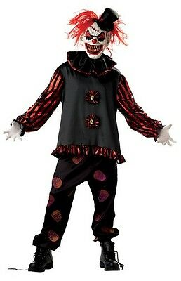 ADULT CARVER KILLER EVIL SCARY CLOWN COSTUME DRESS (Mr Evil Kostüm)