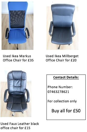 Used Ikea Markus Millberget And Faux Leather Office Chairs