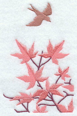 JAPANESE MAPLE LEAFS SET OF 2 HAND TOWELS EMBROIDERED by - Japanese Hand Towels