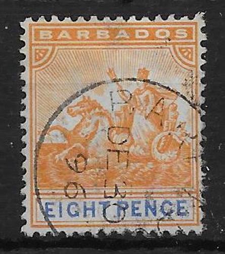 BARBADOS SG112 1892 8d ORANGE & ULTRAMARINE USED