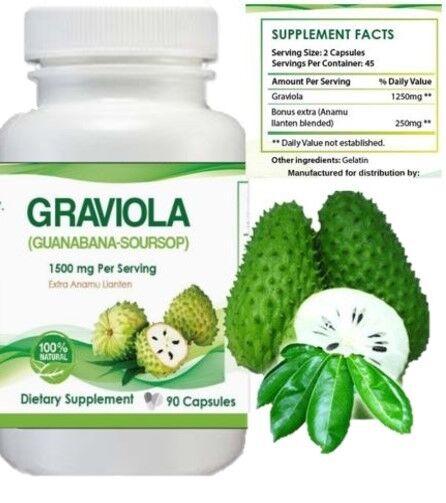 Graviola 1500 mg x/serving 360 Capsules Guanabana / Soursop 6 Month supply 1