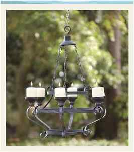Rustic IRON PILLAR CANDLE HOLDER CHANDELIER Light In or Outdoor Patio Home Decor