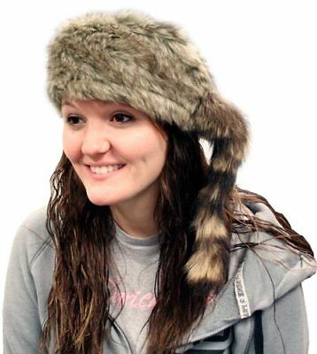 Kids  COON SKIN CAP Real Tail hat raccoon Wilcor Wilderness Cap trap - Raccoon Skin Hat
