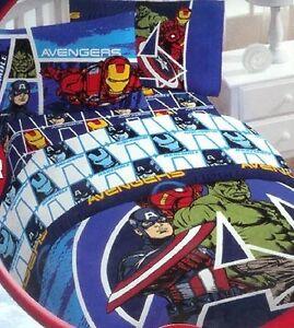Marvel Avengers Kids Comforter Bed Set 4pcs Twin Hulk Iron