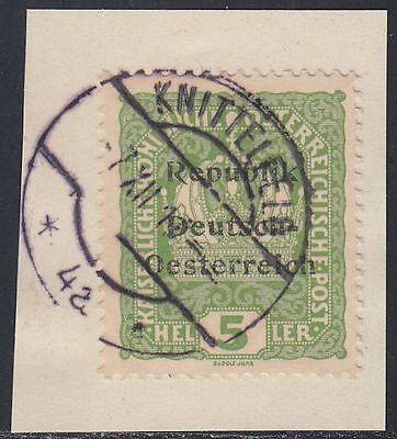 Österreich 1918 3 Heller Knittelfeld Briefstück