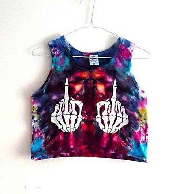 90s Grunge Tie Dye Crop Top Summer Vest Festival  Middle Finger Swearing Skull (Halloween Super Center)