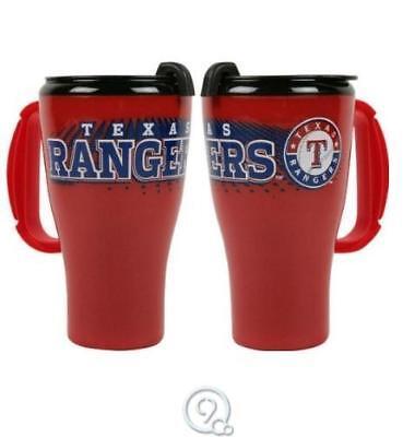 (MLB Baseball Texas Rangers 16 Oz Roadster Tumbler Plastic Travel Mug Coffee Cup)