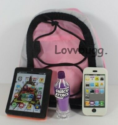 "Lovvbugg Backpack Tablet Phone Soda Set for 18"" American Girl Doll School Accessory"