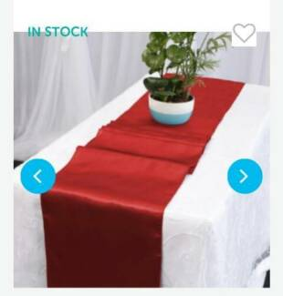 Satin Table Runner & White Fitted Tablecloth (6ft)