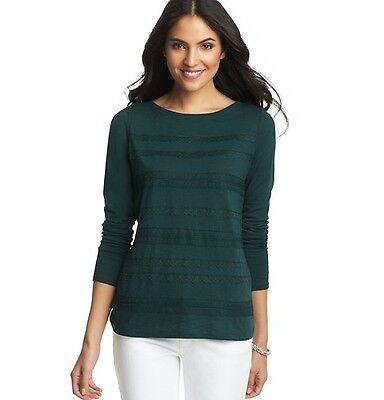 Nwt Ann Taylor Loft Green Delicate Trim Lace Tier Cotton Modal Long Slv Shirt S