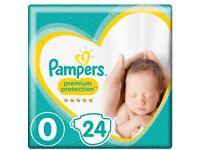 7 unopened packs of pampers nappies size 0