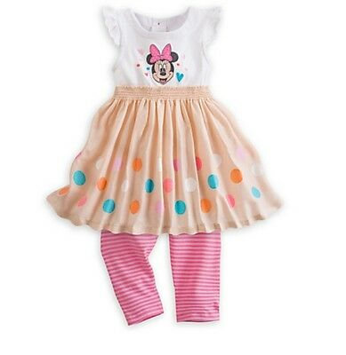 Disney Store Authentic Minnie Mouse Baby Knit Dress Set Size 12-18 Months NWT
