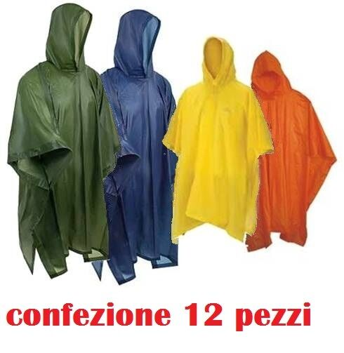 Set 12 Mantella Poncio Poncho Impermeabile Anti Pioggia Con Cappuccio moc