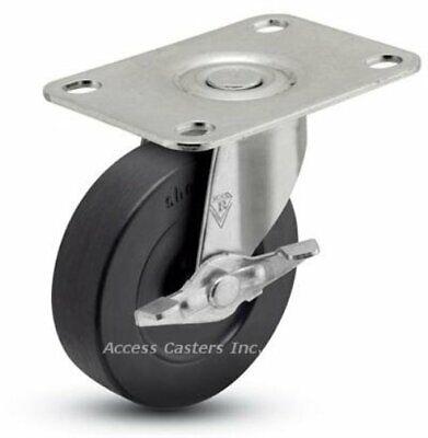 5spcrsb 5 Swivel Plate Caster With Brake Soft Rubber Wheel 130 Lbs Capacity