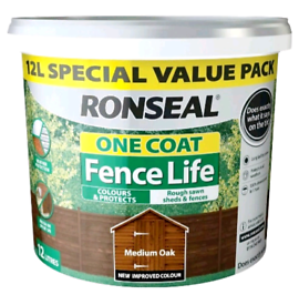 12 Litre RONSEAL FENCE LIFE STAIN MEDIUM OAK FENCE PAINT/STAIN