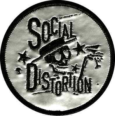 39083 Social Distortion D Skeleton Punk Rock Music Band Silver Iron On Patch