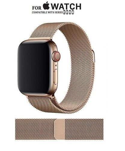 44mm Series 1-4 Replacement Milanese Magnetic Closure Gold Band for Apple Watch Jewelry & Watches