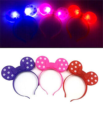 12 Minnie Mouse Bows Light Up Headbands Mickey Mouse Party Rave Flashing Favors ](Minnie Mouse Bow Light Up)