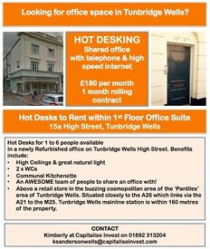 Hot Desks to Rent, Central Tunbridge Wells, High Street Location just £180pcm