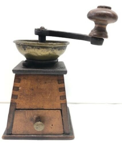 Unusual Antique Wooden Coffee Grinder With Canted Sides & Drawer