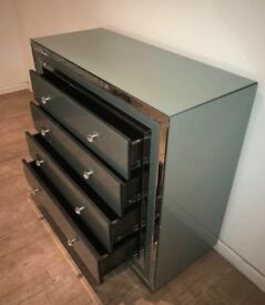 Teal Mirrored / Glass chest of drawers