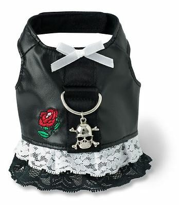 Biker Dog Harness Dress Black Doggles all sizes skull  Pet Harnesses lace -