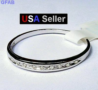 Women's Real Diamond 10K Solid White Gold Wedding Band Anniversary Ring Size 7