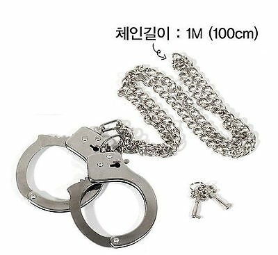 Chained Handcuff Silver Metal Animation Cosplay Toy Accessory Safe 39-inch 1m