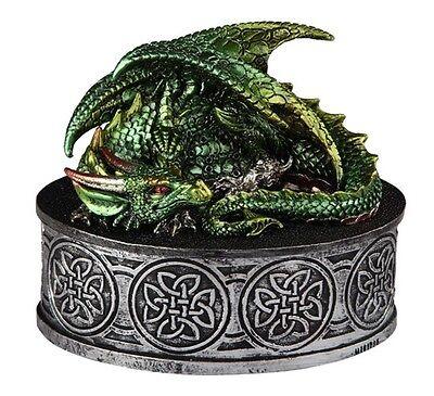 "5"" Green Dragon Round Trinket Box Fantasy Decor Statue Figure Figurine"