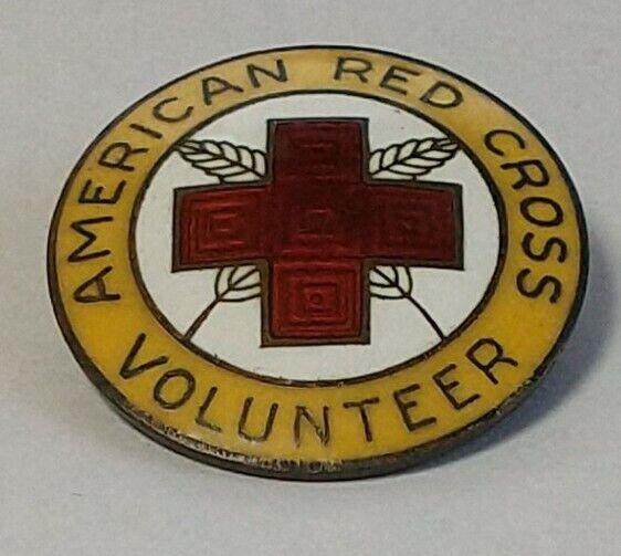 Vintage 1940s AMERICAN RED CROSS VOLUNTEER Sterling WWII Pin MARKED very nice!