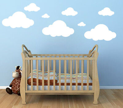White Clouds 20 23 Wall Decals Stickers Peel And Stick Nursery Custom Kids Room