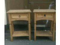 Pair Of Mexican Pine Bedside Tables