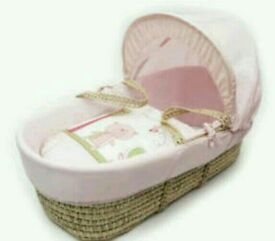Kinder valley pink Tiny Teddy Plam moses basket. Brand new in sealed packs. 5 plc left only.