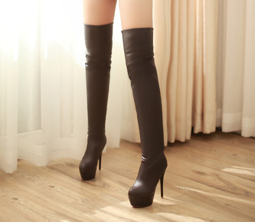 Details about  /Sexy Womens lady High Chunky Heel Platform Zipper Over the Knee High Thigh Boots