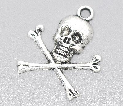 6 Pcs Antique Silver Halloween Skull Charm Pendants 24x21mm LC1745