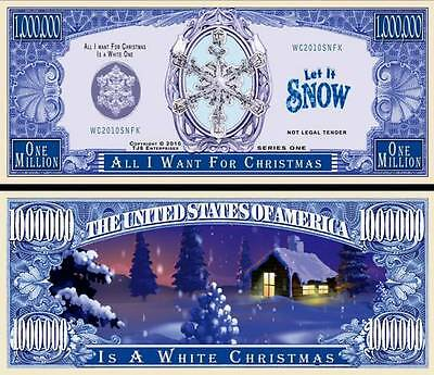 White Christmas Million Dollar Bill Fake Funny Money Novelty Note + FREE SLEEVE ()