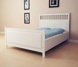 White Hemnes Double Bed frame IKEA Double Bed (Frame/Slats)