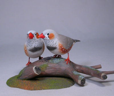 Pair of Zebra Finches Bird Wood Carving/Birdhug