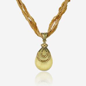 Glass Beads Swarovski Crystal Bohemia Teardrop Metallic Necklace