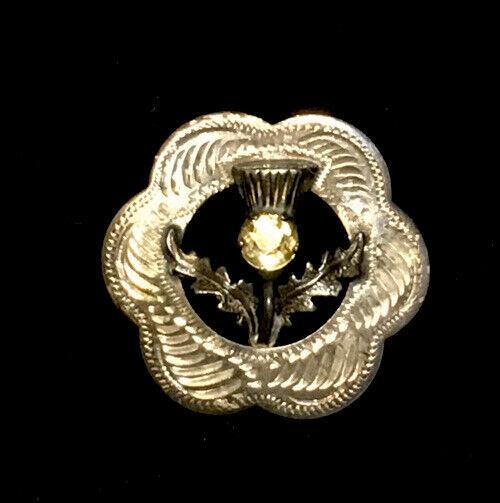 Vintage Sterling Silver Ward Brothers Scottish Citrine Thistle Pin Sku118763
