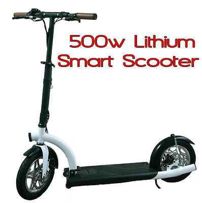 Smart Urban 500watt 36volt Lithium Electric Scooter. Brushless Hub Motor, WHITE